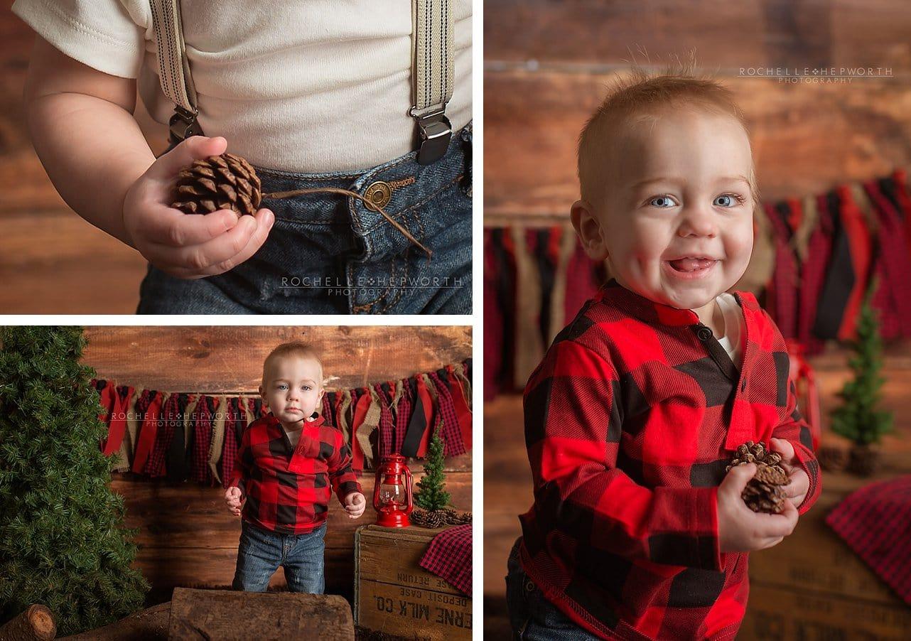lumberjack plaid shirt boy with pine cones and log