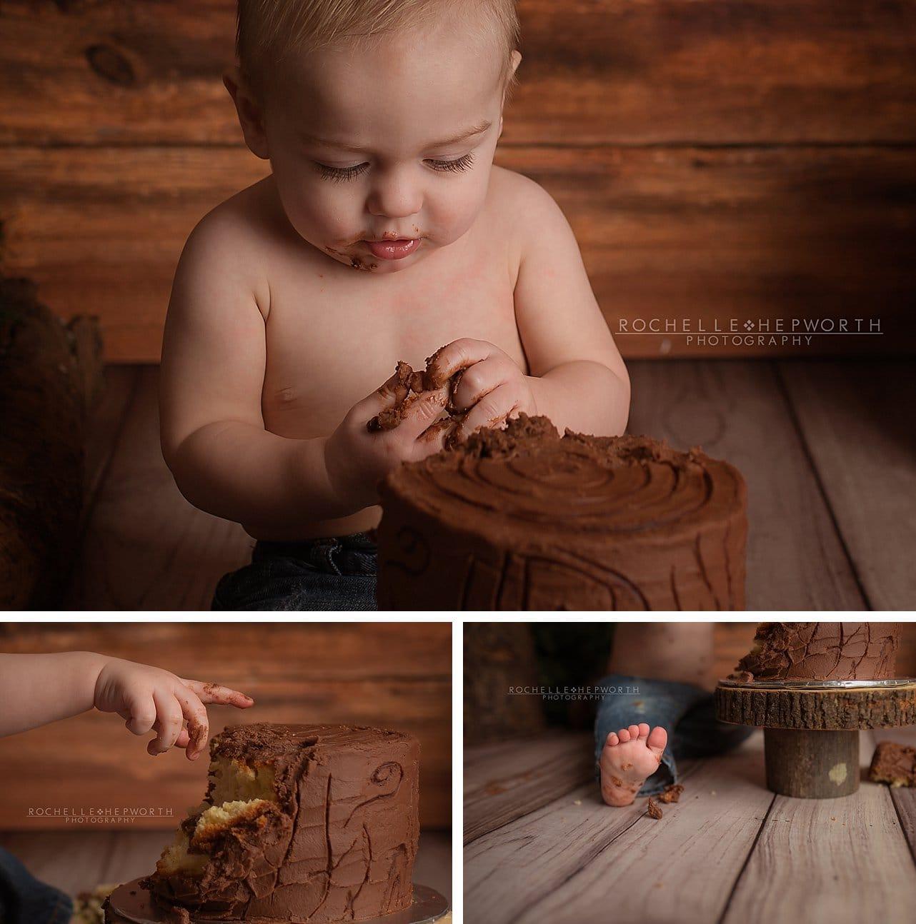 lumberjack cake smash close-ups hands feet