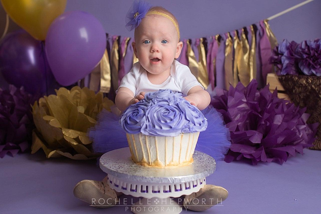 Lavender and Gold Cake Smash