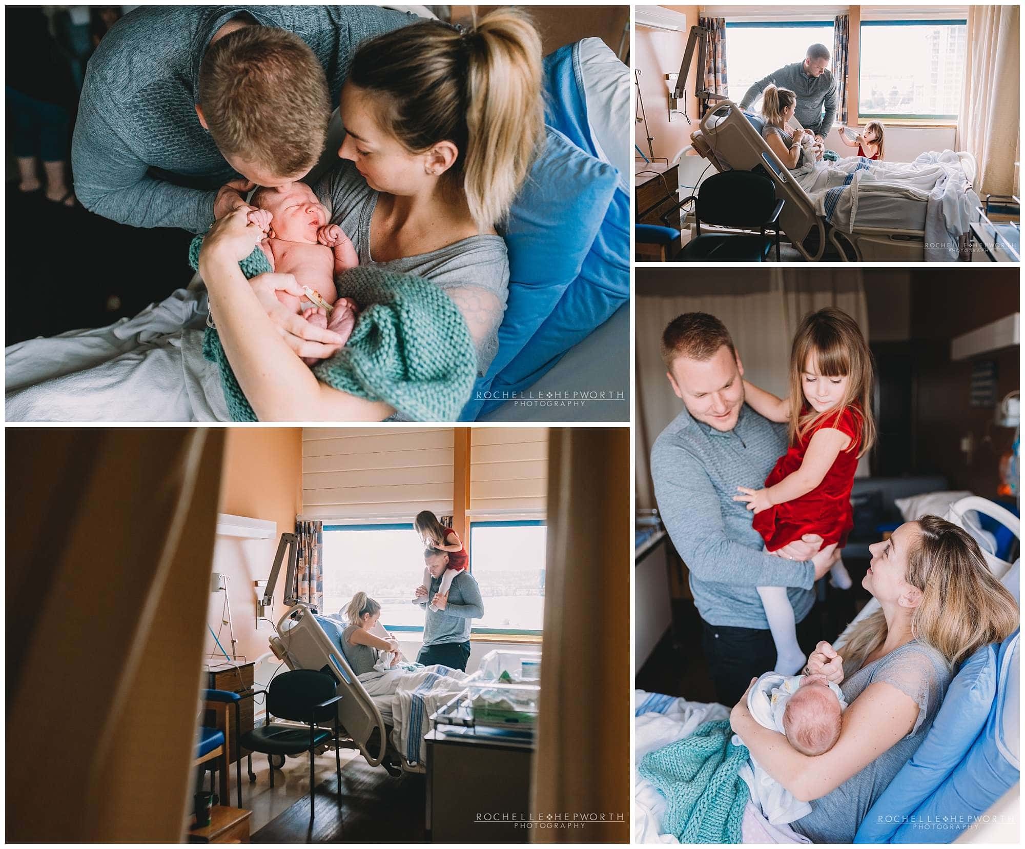 dad and sister interacting with mom and newborn baby sitting in hospital bed