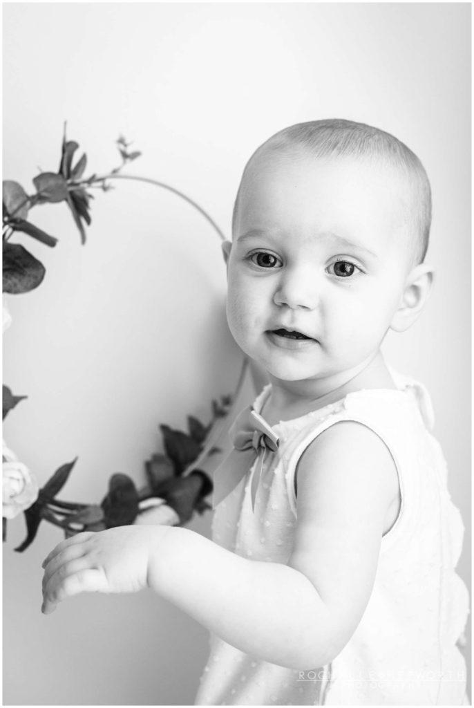 black and white portrait of toddler girl