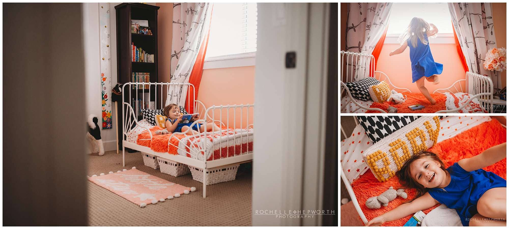 girl in blue dress reading and twirling on her toddler bed
