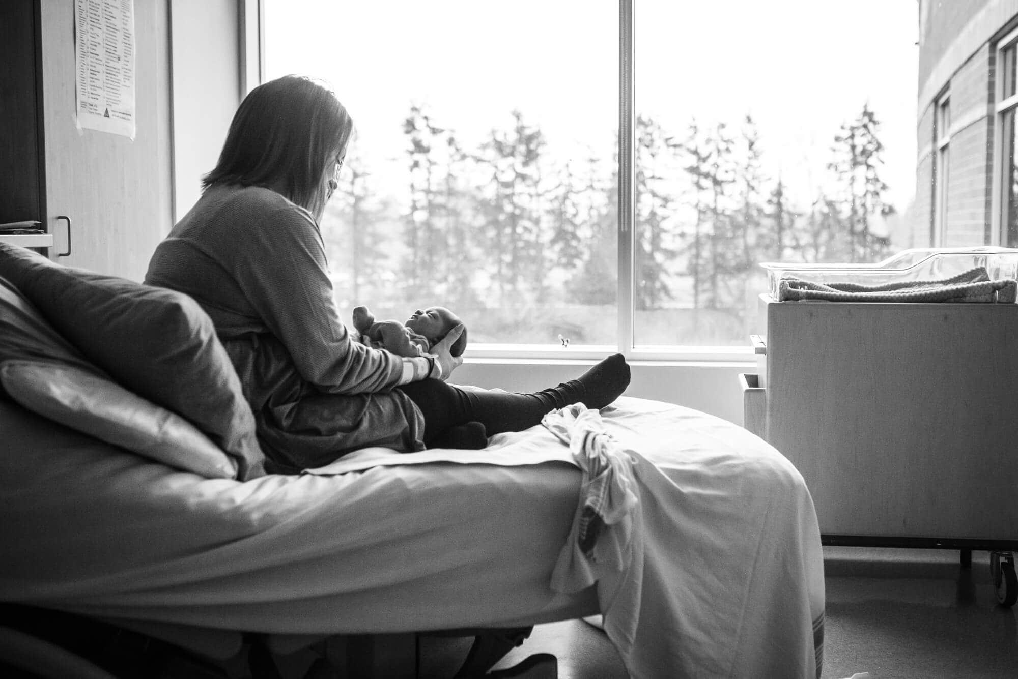 fresh 48 mom and newborn in hospital room