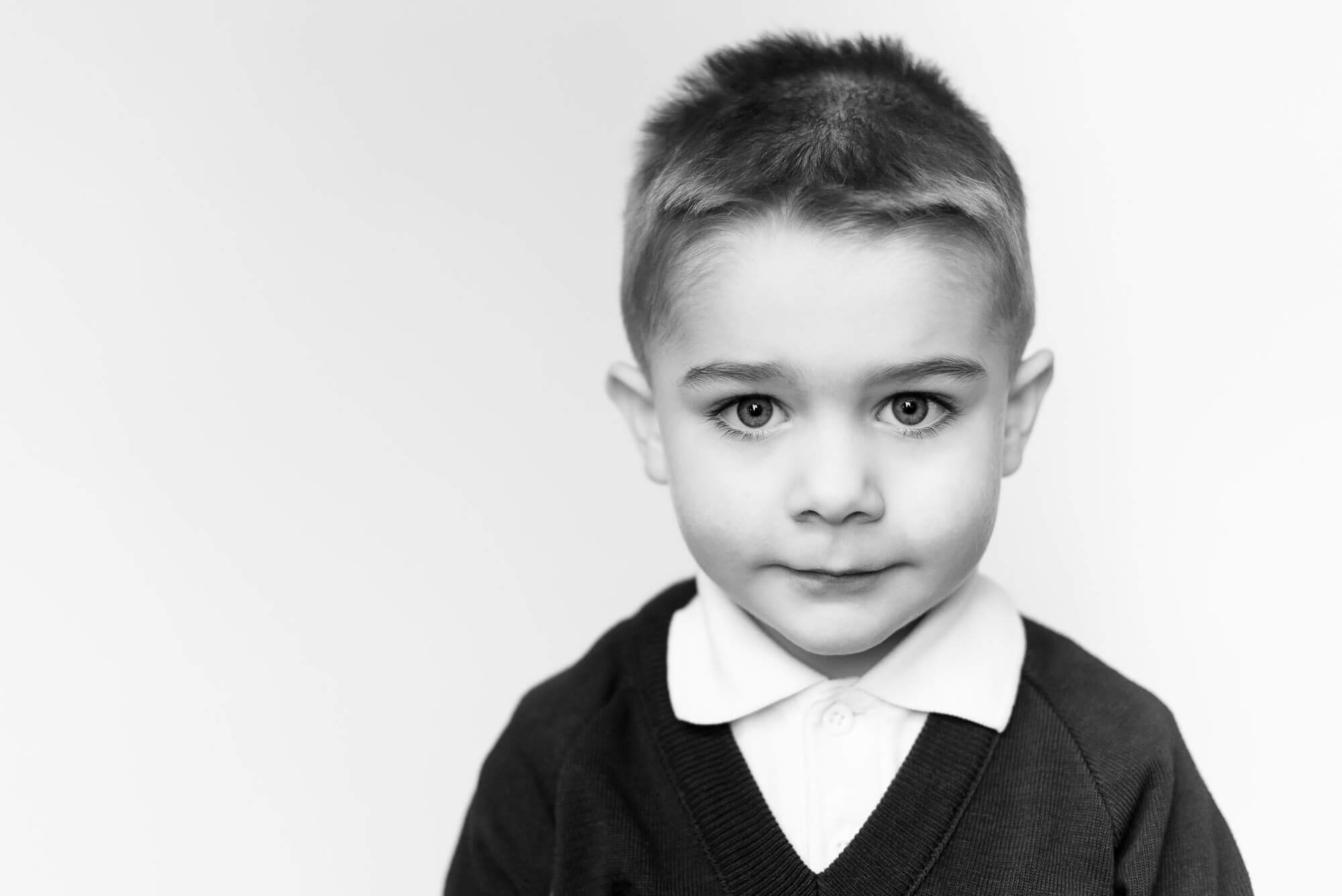 modern school photography boy with intense look