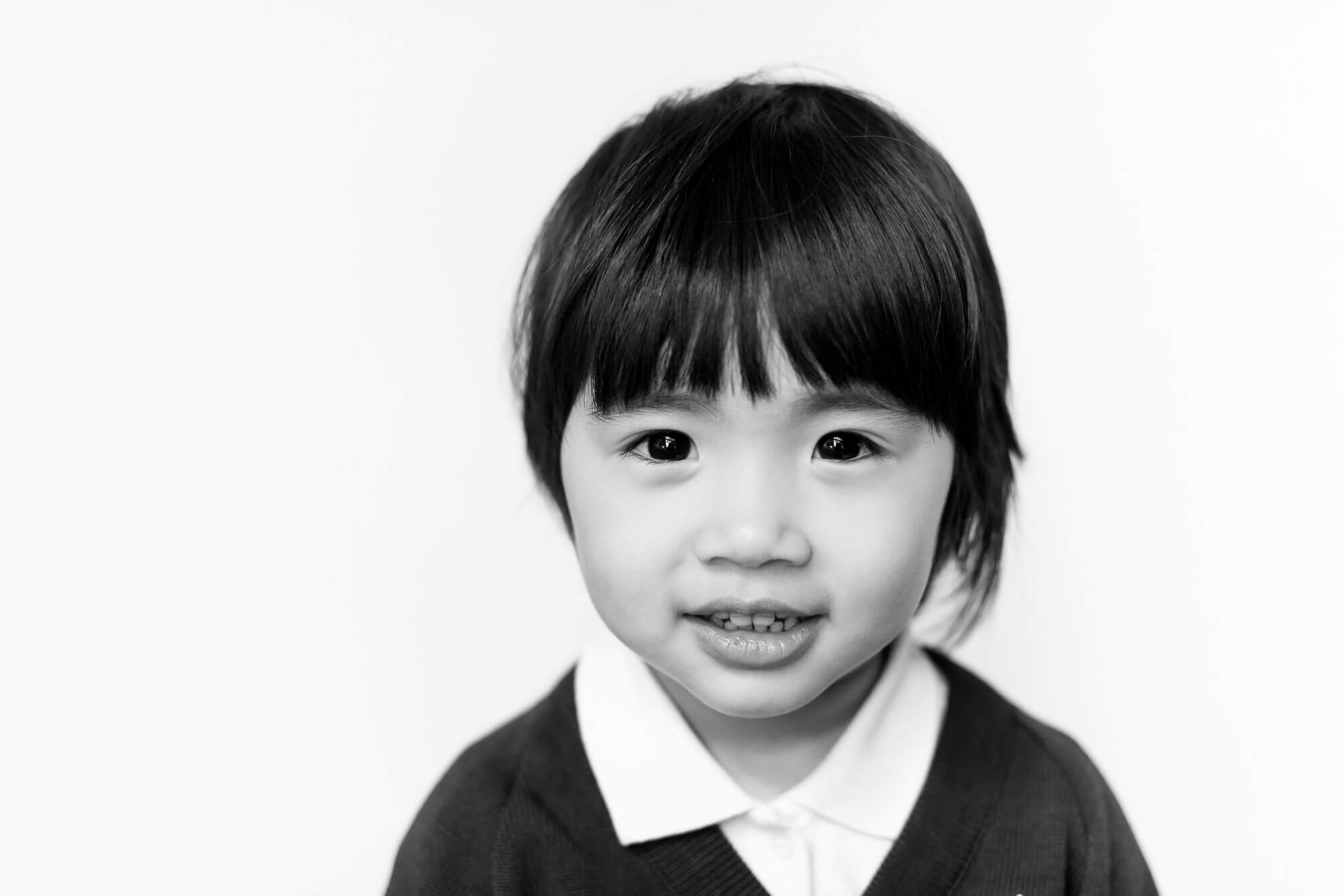 modern school photography chinese girl with little smile