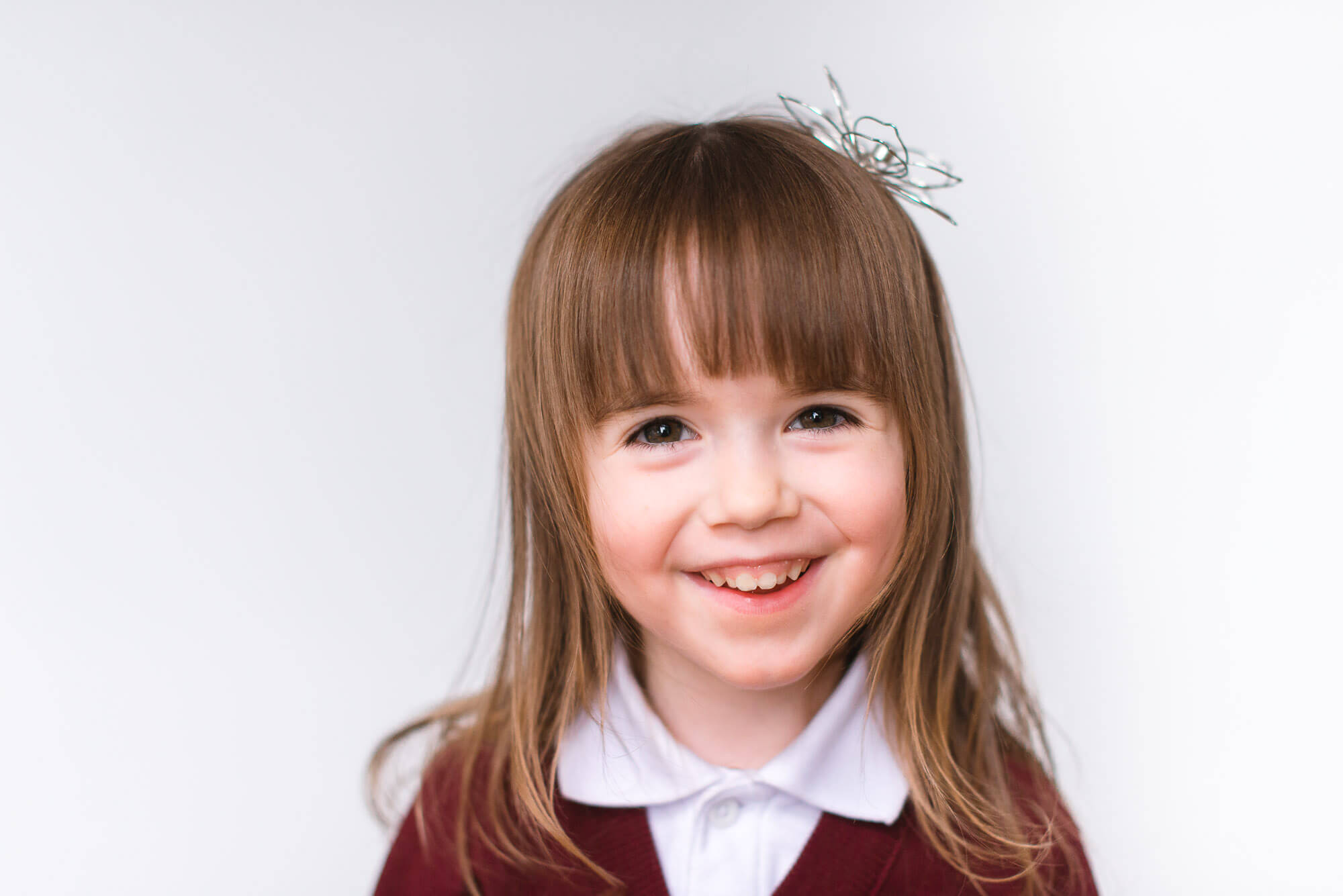 modern school photography girl with bangs