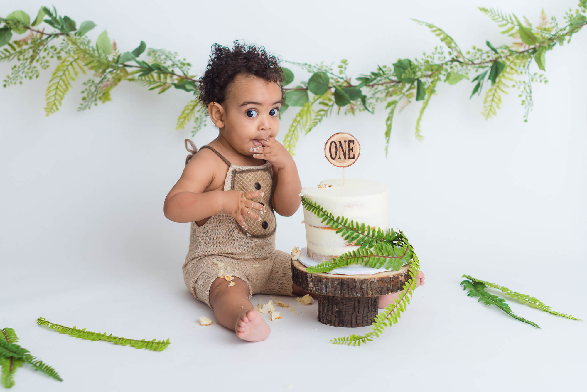 Coquitlam cake smash photography shows boy with ferns at milestone session