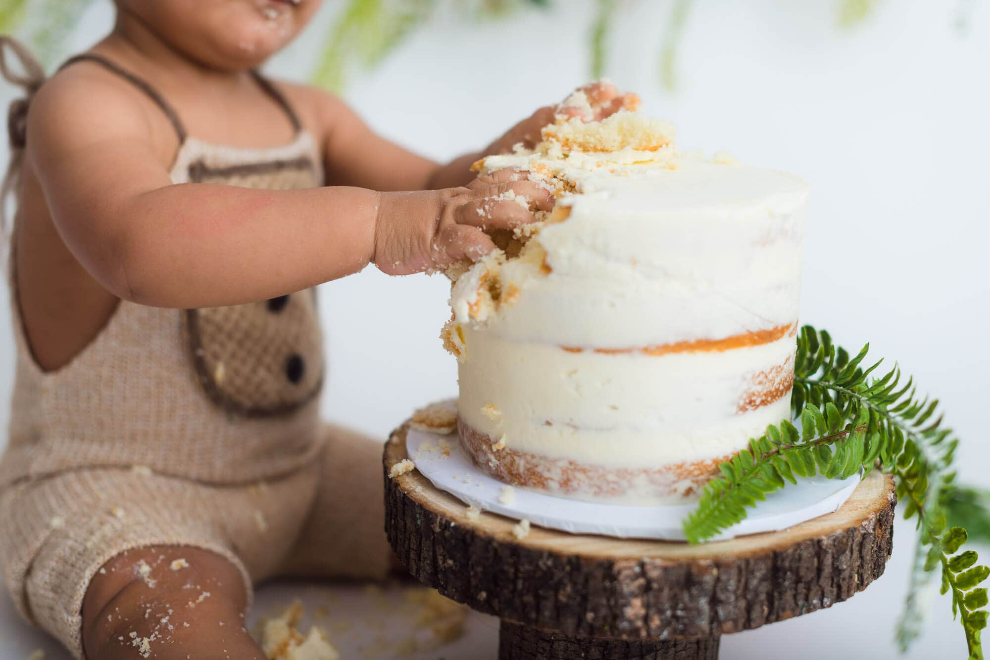 one-year old enjoys digging into cake at milestone first birthday session