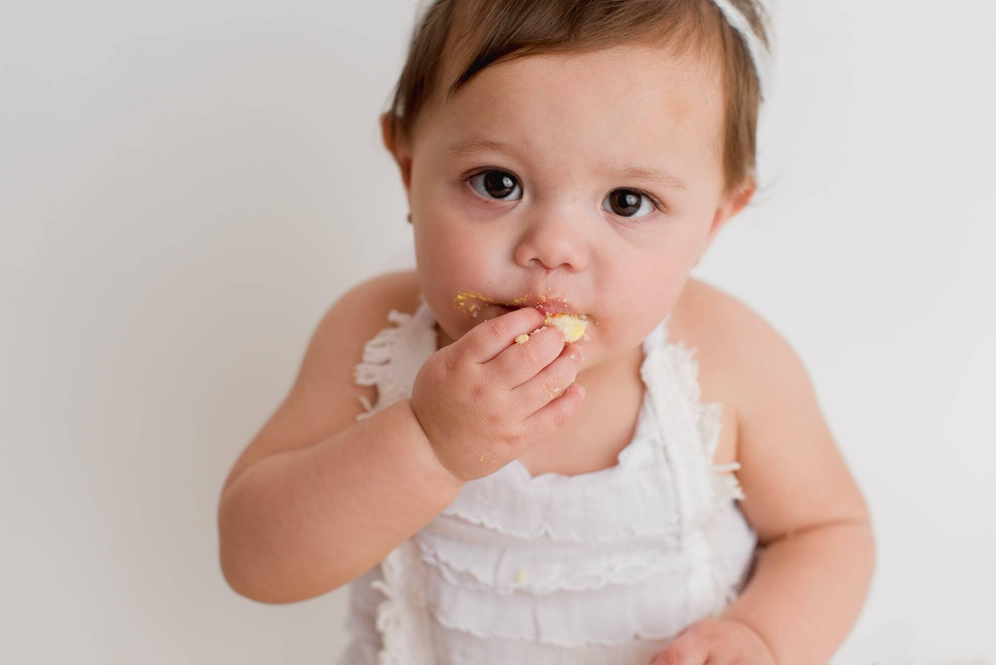 toddler closeup during Port Coquitlam cake smash