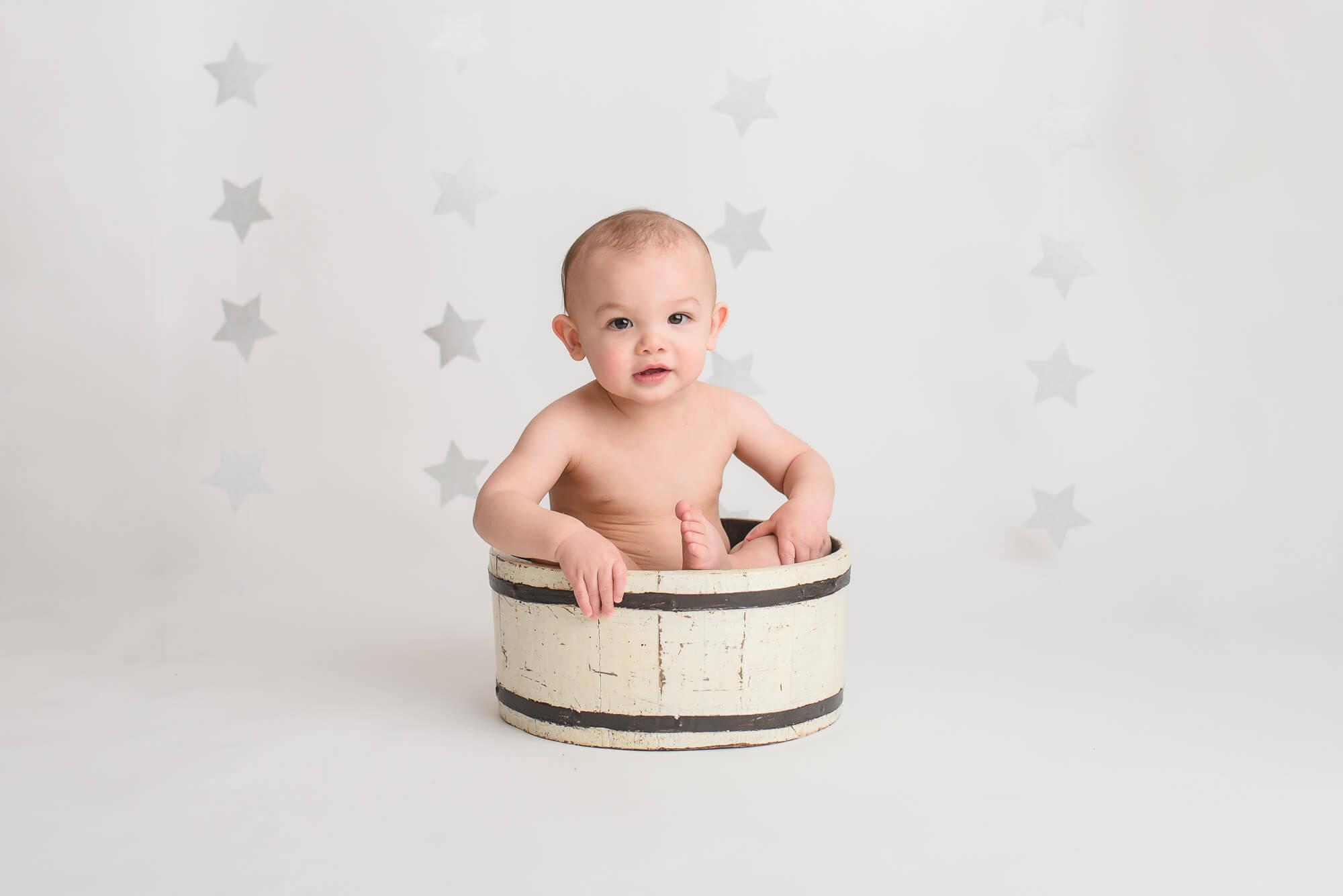 boy in bucket in Vancouver portrait studio