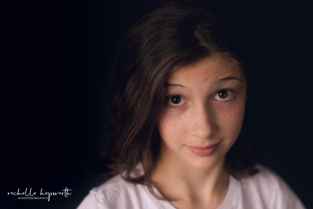 sassy girl with raised eyebrows
