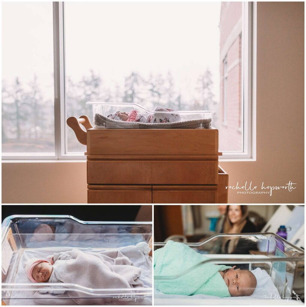 newborn photos in bassinet
