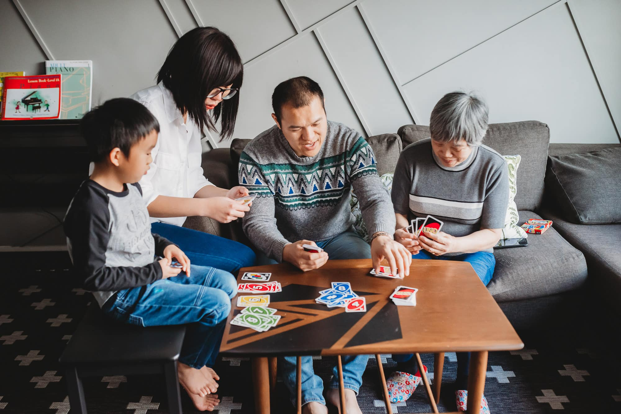 family playing card game