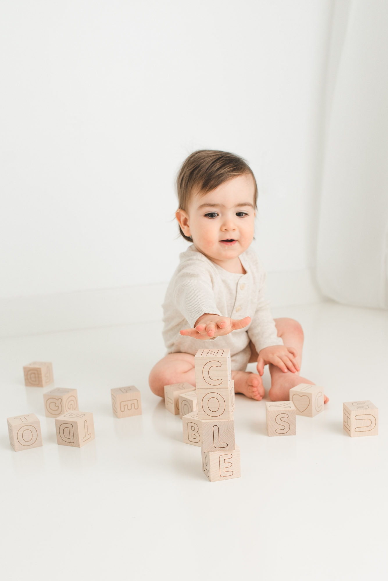big baby photo session with alphabet blocks